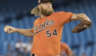 Baltimore Orioles starting pitcher Andrew Cashner throws against the Toronto Blue Jays during the first inning of a baseball game in Toronto, Saturday, July 6, 2019. (Fred Thornhill/The Canadian Press via AP)