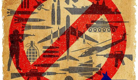 Illustration on anti-defence thinking by Greg Groesch/The Washington Times