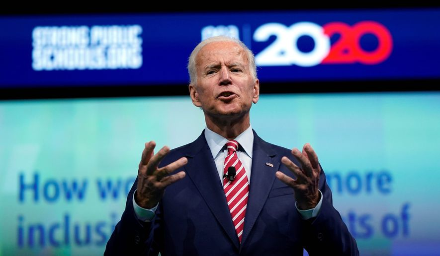 Democratic presidential candidate and former Vice President Joe Biden speaks during the National Education Association Strong Public Schools Presidential Forum Friday, July 5, 2019, in Houston. (AP Photo/David J. Phillip)