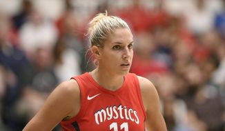 Washington guard Elena Delle Donne, out with a broken nose, wasn't in the lineup for Wednesday's 91-68 loss to Phoenix.. (AP Photo/Nick Wass) **FILE**