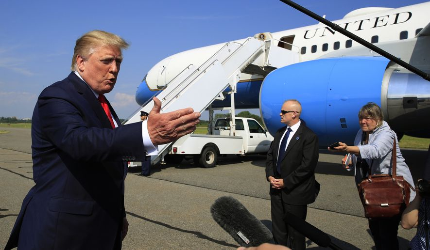President Donald Trump speaks at Morristown Municipal Airport in Morristown, N.J., on his way to the White House, Sunday, July 7, 2019. (AP Photo/Manuel Balce Ceneta)