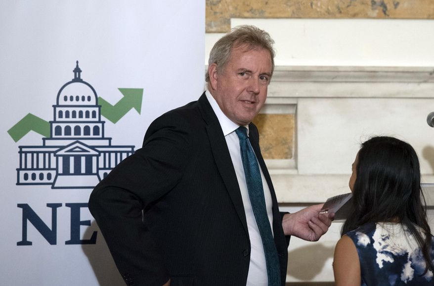 In this Friday, Oct. 20, 2017, file photo, British Ambassador Kim Darroch hosts a National Economists Club event at the British Embassy in Washington. (AP Photo/Sait Serkan Gurbuz) ** FILE **