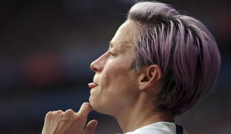 United States' Megan Rapinoe looks on during the Women's World Cup final soccer match between US and The Netherlands at the Stade de Lyon in Decines, outside Lyon, France, Sunday, July 7, 2019. (AP Photo/Francisco Seco) ** FILE **