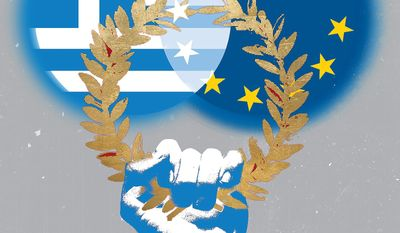 Illustration on making Greece great again by Linas Garsys/The Washington Times