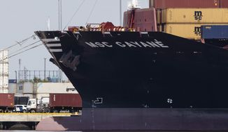This file photo from June 24, 2019, shows the MSC Gayane moored at the Packer Marine Terminal in Philadelphia. Customs authorities announced on Monday, July 8, 2019, they have seized the cargo ship where agents discovered nearly 40,000 pounds, or almost 18,000 kilograms, of cocaine when the vessel was inspected in Philadelphia last month. (AP Photo/Matt Rourke, File)