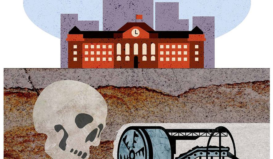 Polluting the School Illustration by Greg Groesch/The Washington Times