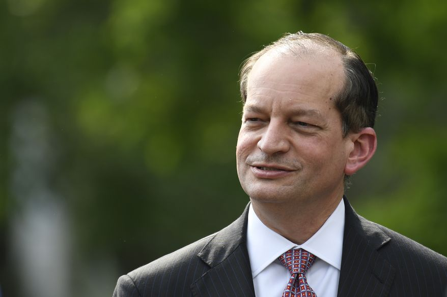 Labor Secretary Alex Acosta attends an event with President Donald Trump to welcome the 2018 NASCAR Cup Series Champion Joey Logan on the South Lawn of the White House in Washington, Tuesday, April 30, 2019. (AP Photo/Susan Walsh)