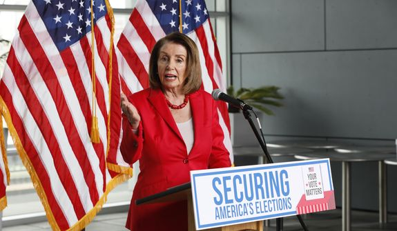 "House Speaker Nancy Pelosi speaks during a news conference at the Federal Building in San Francisco on Monday, July 8, 2019. She and other elected leaders and advocates, called for the Senate to pass the Securing America's Elections (SAFE) Act, a bill to protect elections from future foreign interference. House Speaker Pelosi said President Donald Trump wants to add a citizenship question to next year's Census because he wants to ""make America white again."" (AP Photo/Samantha Maldonado)"