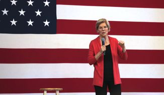 Democratic presidential candidate Sen. Elizabeth Warren, D-Mass., during a campaign stop in Peterborough, N.H., Monday, July 8, 2019. (AP Photo/Charles Krupa)