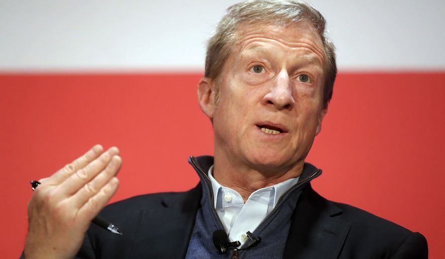 """Democratic candidate Tom Steyer, who announced Tuesday that he was entering the presidential race, said he was watching the campaign and felt as if he """"couldn't sleep."""" (Associated Press/File)"""