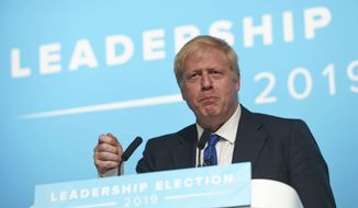 Conservative party leadership candidate Boris Johnson speaks during a Tory leadership hustings at the All Nations Centre in Cardiff, Wales, Saturday, July 6, 2019. (David Mirzoeff/PA via AP)