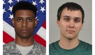 FILE - This combination of photos provided by the U.S. Army and the University of Maryland Police Department shows Richard Collins III, left, and Sean Urbanski. Urbanski is charged with first-degree murder and a hate crime in the May 2017 killing of 23-year-old Richard Collins III. Defense attorneys are asking for more time to prepare for Urbanski's trial, which is scheduled to start on July 22. (U.S. Army, University of Maryland Police Department via AP, File)