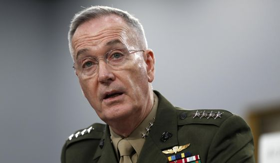 In this May 1, 2019, file photo, Joint Chiefs of Staff Chairman Gen. Joseph Dunford testifies during a House Appropriations subcommittee on budget hearing on Capitol Hill in Washington.  (AP Photo/Jacquelyn Martin, File)  **FILE**
