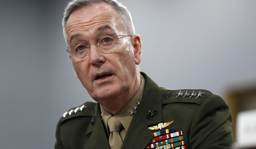In this May 1, 2019, file photo, Joint Chiefs of Staff Chairman Gen. Joseph Dunford testifies during a House Appropriations subcommittee on budget hearing on Capitol Hill in Washington. Now retired, Gen. Dunford has been named to the board of directors for defense contractor Lockheed Martin, the company confirmed to The Washington Times on Jan. 24, 2020. (AP Photo/Jacquelyn Martin, File)