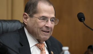 FILE - In this June 26, 2019, file photo, House Judiciary Committee Chairman Jerrold Nadler, D-N.Y., takes his seat for a hearing on Capitol Hill in Washington. The House Judiciary Committee is moving to authorize subpoenas for several people tied to special counsel Robert Mueller's report, including President Donald Trump's son in law, Jared Kushner, and former Attorney General Jeff Sessions. (AP Photo/J. Scott Applewhite, File)