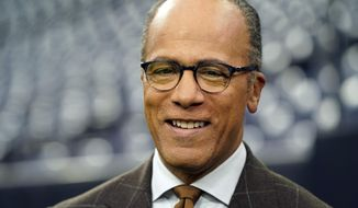 In this Sunday, Oct. 7, 2018 file photo NBC's Lester Holt before an NFL football game in Houston. Arizona State University is awarding its 2019 Walter Cronkite Award for Excellence in Journalism to Holt. He will receive the award Nov. 4, 2019, in Phoenix from the university's Walter Cronkite School of Journalism and Mass Communication. (AP Photo/David J. Phillip,File) **FILE**