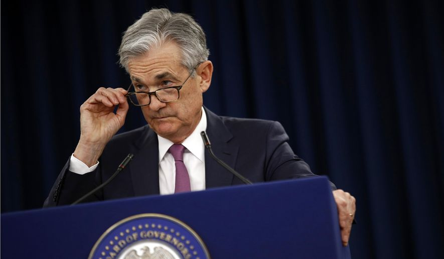 FILE - In this May 1, 2019, file photo Federal Reserve Board Chair Jerome Powell speaks at a news conference following a two-day meeting of the Federal Open Market Committee in Washington. Powell says the Fed's annual stress tests of the nation's largest banks will need to evolve to keep pace with a changing financial system. (AP Photo/Patrick Semansky, File)
