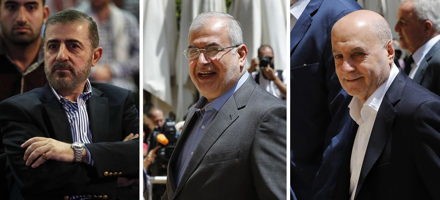 """This combination of three photo shows, from left, Wafiq Safa, a top Hezbollah security official, and Lebanon Parliament members Muhammad Hasan Ra'd and Amin Sherri in Beirut. The U.S. Treasury Department is imposing sanctions the three men, who are suspected of using their positions to further the aims of the Iran-backed military group and """"bolster Iran's malign activities."""" (AP Photo/Hussein Malla)"""