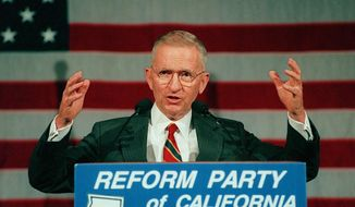 In this June 1, 1996, file photo, former presidential candidate Ross Perot addresses the first California statewide convention of the Reform Party, a new political party he founded, at the Los Angeles Convention Center in Los Angeles. Perot, the Texas billionaire who twice ran for president, has died, a family spokesperson said Tuesday, July 9, 2019. (AP Photo/Reed Saxon, File) **FILE**