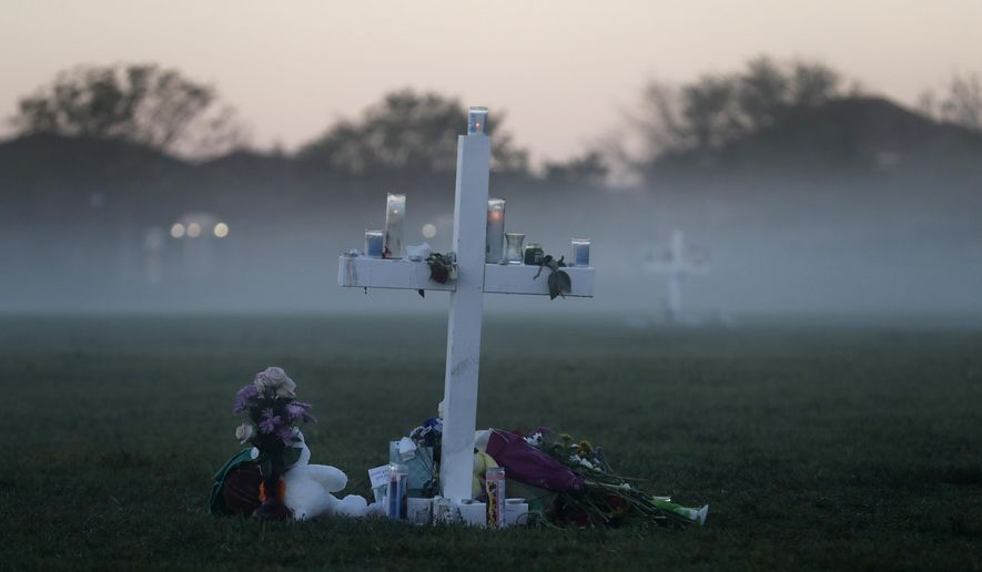 In this Feb. 17, 2018, file photo, an early morning fog rises where 17 memorial crosses were placed, for the 17 deceased students and faculty from the shooting at Marjory Stoneman Douglas High School in Parkland, Fla. One-third of the attackers who terrorized schools, houses of worship or businesses nationwide last year had a history of serious domestic violence, two-thirds had mental health issues, and nearly all had made threatening or concerning communications that worried others before they struck, according to a U.S. Secret Service report on mass attacks.  (AP Photo/Gerald Herbert, File)