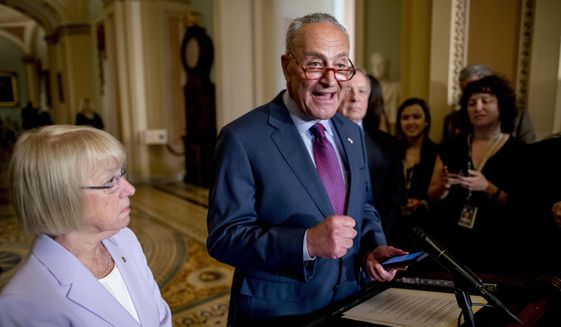 Senate Minority Leader Sen. Chuck Schumer of N.Y., speaks at a news conference following a Senate policy luncheon on Capitol Hill in Washington, Tuesday, June 25, 2019. (AP Photo/Andrew Harnik) **FILE**