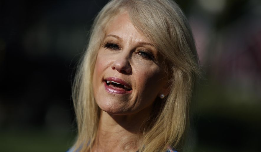 White House counselor Kellyanne Conway talks to reporters outside the White House, Tuesday, July 9, 2019, in Washington. (AP Photo/Evan Vucci)