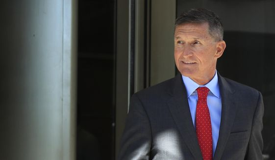 In this July 10, 2018, file photo, former Trump National Security Adviser Michael Flynn leaves the federal courthouse in Washington, following a status hearing. (AP Photo/Manuel Balce Ceneta, File) **FILE**