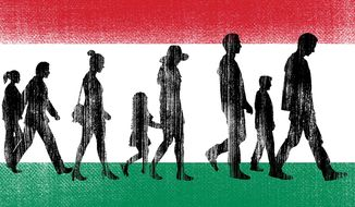 Illustration on Hungarian immigration policy by Linas Garsys/The Washington Times
