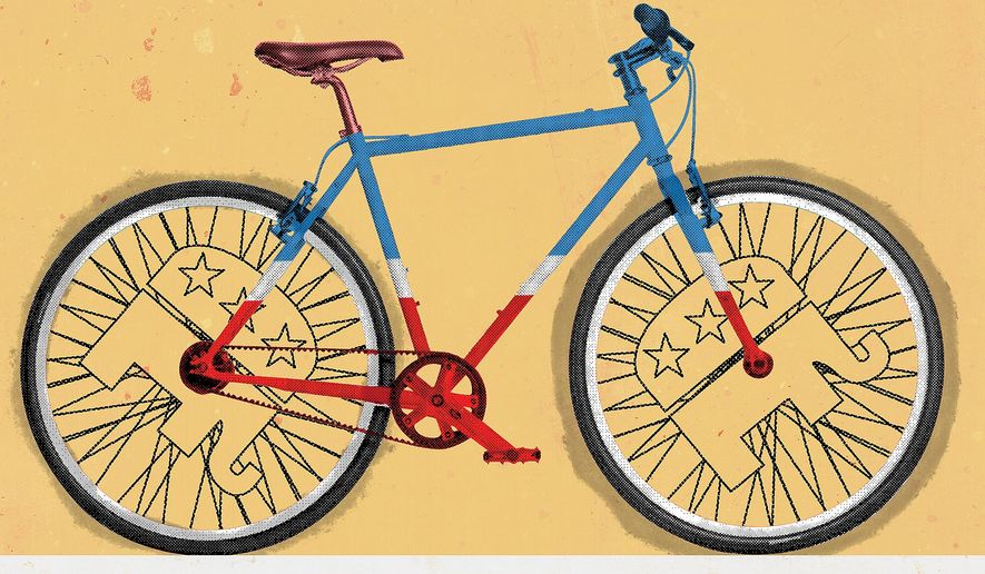 Illustration on bicycles by Linas Garsys/The Washington Times