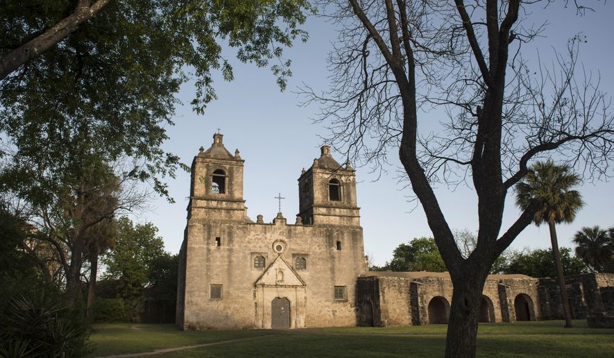 ADVANCE FOR USE SUNDAY, JULY 14, 2019 AT 12:01 A.M. ET AND THEREAFTER. This March 29, 2017 photo shows Mission Concepcion which was dedicated in 1755 in San Antonio, Texas. A university research team and the Archdiocese of San Antonio are fast-tracking a study in 2019 that seeks to keep the historic church at Mission Concepcion comfortable and structurally sound for another 300 years. (Billy Calzada/The San Antonio Express-News via AP)