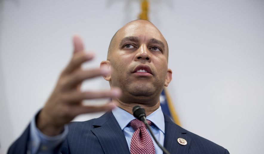 Democratic Caucus Chairman Rep. Hakeem Jeffries of N.Y., speaks at a news conference following a House Democratic caucus meeting on Capitol Hill in Washington, Wednesday, July 10, 2019. (AP Photo/Andrew Harnik)
