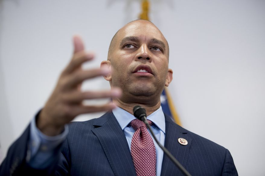 Democratic Caucus Chairman Hakeem Jeffries of New York speaks at a news conference following a House Democratic caucus meeting on Capitol Hill in Washington on July 10, 2019. (AP Photo/Andrew Harnik) **FILE**