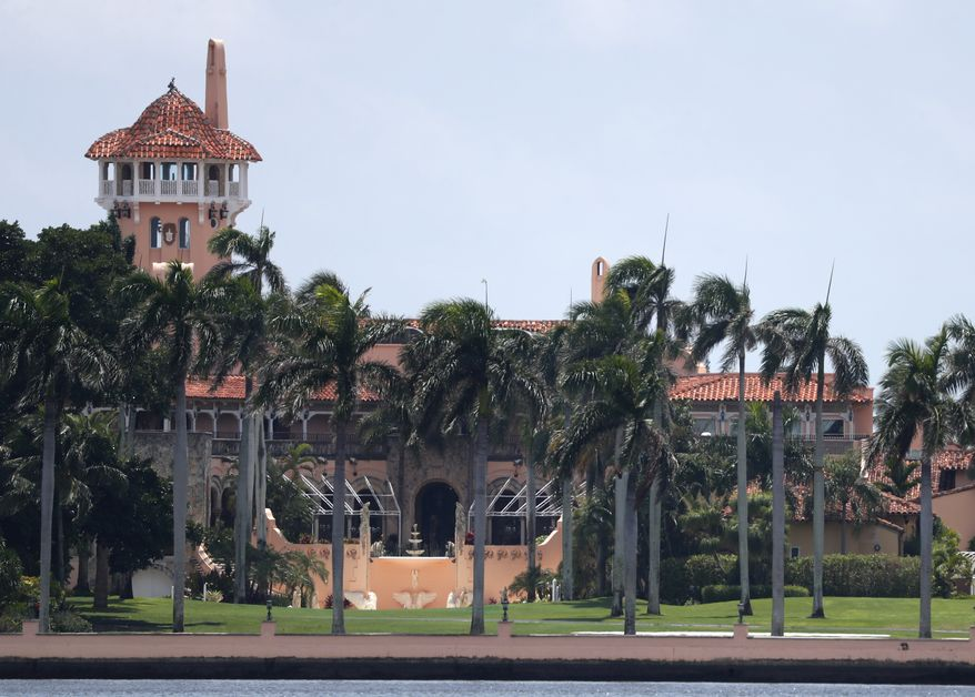 President Donald Trump's Mar-a-Lago estate is shown, Wednesday, July 10, 2019, in Palm Beach, Fla. (AP Photo/Wilfredo Lee)