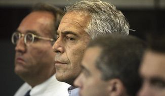 In this July 30, 2008, file photo, Jeffrey Epstein, center, appears in court in West Palm Beach, Fla. The wealthy financier pleaded not guilty in federal court in New York on Monday, July 8, 2019, to sex trafficking charges following his arrest over the weekend. Epstein will have to remain behind bars until his bail hearing on July 15. (Uma Sanghvi/Palm Beach Post via AP, File)