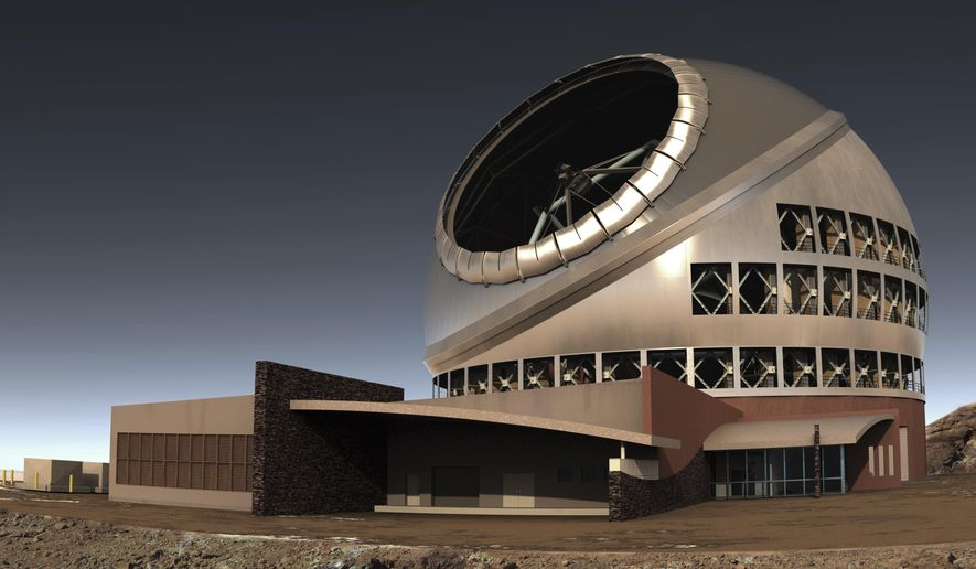 This undated file illustration provided by Thirty Meter Telescope (TMT) shows the proposed giant telescope on Mauna Kea on Hawaii's Big Island. Construction on giant telescope to start again in the third week of July 2019, after court battles over Hawaii site that some consider sacred. (TMT via AP, File)