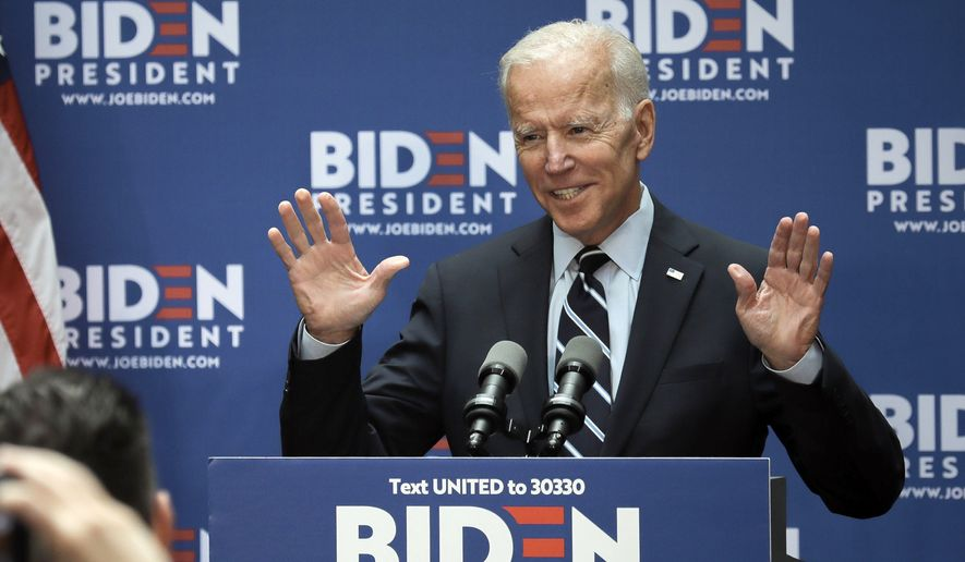 Democratic presidential candidate former Vice President Joe Biden speaks about foreign policy at The Graduate Center at CUNY, Thursday July 11, 2019, in New York. (AP Photo/Bebeto Matthews)