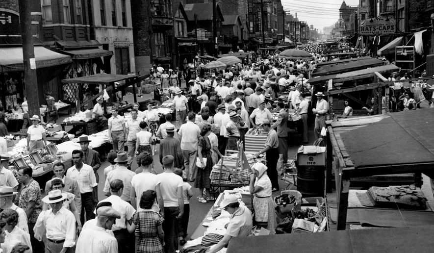 Hundreds of shoppers come to the open air market on Maxwell Street in Chicago, Ill., in this undated photo.  (AP Photo)