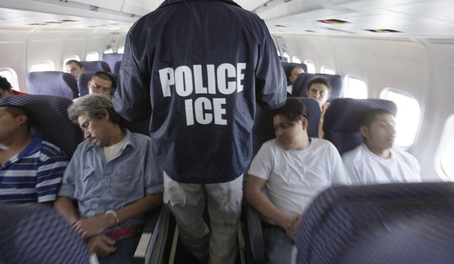 In this May 25, 2010, photo, an Immigration and Customs Enforcement agent walks down the aisle among shackled Mexican immigrants a boarded a U.S. Immigration and Customs Enforcement charter jet for deportation in the air between Chicago, Il. and Harlingen, Texas. (Associated Press) **FILE**