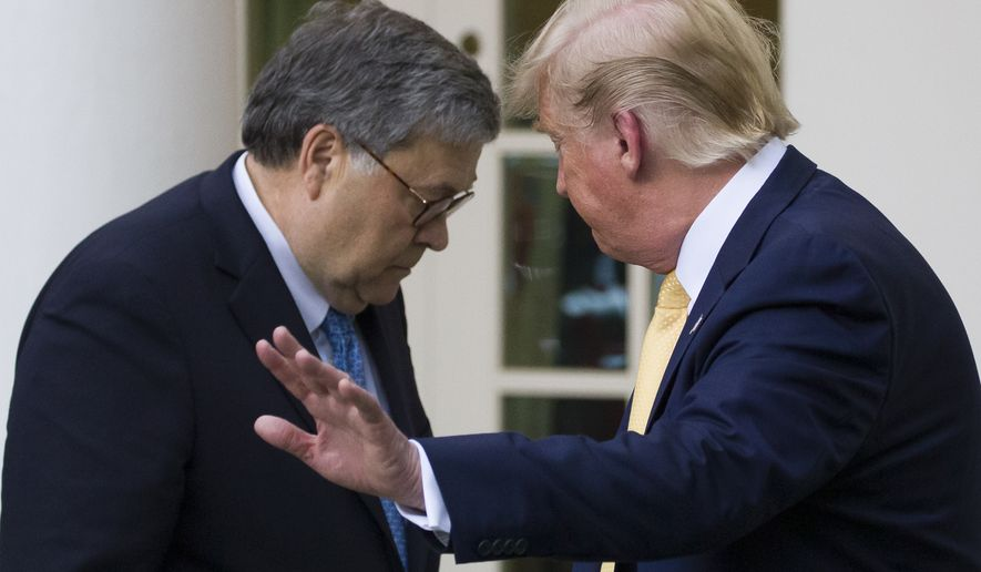 Attorney General William Barr, left, and President Donald Trump turn to leave after speaking about the 2020 census in the Rose Garden of the White House, Thursday, July 11, 2019, in Washington. (AP Photo/Alex Brandon) **FILE**