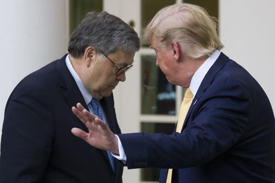 Attorney General William Barr, left, and President Donald Trump turn to leave after speaking about the 2020 census in the Rose Garden of the White House, Thursday, July 11, 2019, in Washington. (AP Photo/Alex Brandon)