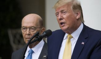 President Donald Trump, accompanied by Commerce Secretary Wilbur Ross, speaks about the 2020 census in the Rose Garden of the White House, Thursday, July 11, 2019, in Washington. (AP Photo/Alex Brandon)