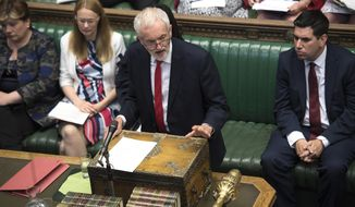Britain's main opposition Labour Party leader Jeremy Corbyn, speaks during Question Time inside the House of Commons in London, Wednesday July 10, 2019.   Britain's ambassador to the United States, veteran diplomat Kim Darroch resigned Wednesday, prompting Prime Minister Theresa May and other British politicians to praise Darroch. (Jessica Taylor/House of Commons via AP)