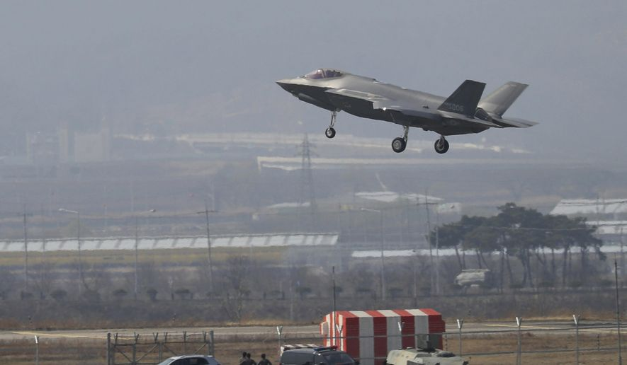 In this March 29, 2019, file photo, a U.S. F-35A fighter jet prepares to land at Chungju Air Base in Chungju, South Korea. North Korea on Thursday, July 11, 2019, slammed South Korea for introducing high-tech U.S. stealth fighters, warning that it will respond by developing unspecified special weapons. South Korea is to buy 40 F-35 fighter jets from Lockheed Martin by 2021. (Kang Jong-min/Newsis via AP)