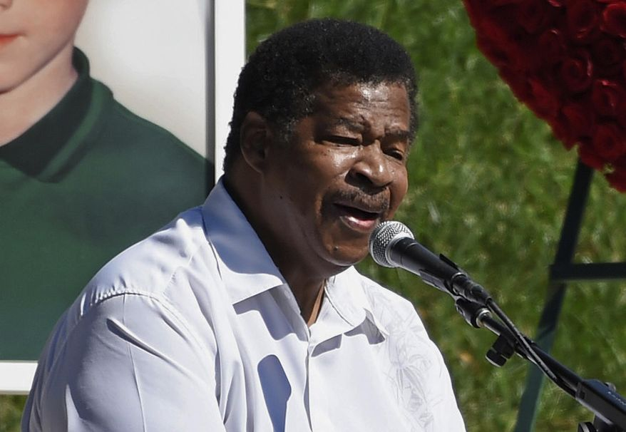 """FILE - In this Oct. 8, 2017 file photo, singer Jerry Lawson performs the song """"Lay Down"""" at a life celebration and statue unveiling for the late actor Anton Yelchin at Hollywood Forever Cemetery in Los Angeles. Lawson, for four decades the lead singer of cult favorite acapella group the Persuasions, has died. Longtime friend Rip Rense says Lawson died Wednesday, July 10, 2019 in Phoenix after a long illness. He was 75. (Photo by Chris Pizzello/Invision/AP, File)"""