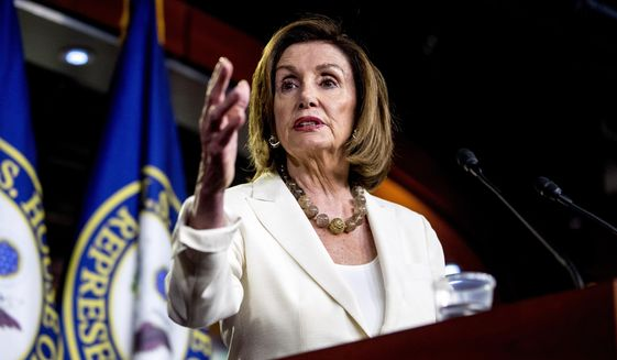 """House Speaker Nancy Pelosi said Rep. Alexandria Ocasio-Cortez and other liberal freshmen """"took offense because I addressed, at the request of my members, an offensive tweet that came out of one of our member's offices that referenced our Blue Dogs and our New Dems essentially as segregationists."""" (Associated Press)"""