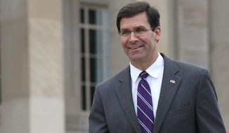 In this July 8, 2019, photo, acting Secretary of Defense Mark Esper waits for the arrival of Qatar's Emir Sheikh Tamim bin Hamad Al Thani to the Pentagon. The Pentagon says that Esper expects to be formally nominated for the top job very soon, setting off a complicated leadership replacement shuffle at top Army, Navy and senior Defense Department levels(AP Photo/Susan Walsh)
