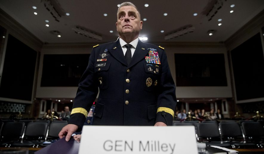 Gen. Mark Milley appears before a Senate Armed Services Committee hearing on Capitol Hill in Washington, Thursday, July 11, 2019, for reappointment to the grade of general and to be Joint Chiefs of Staff Chairman. (AP Photo/Andrew Harnik)