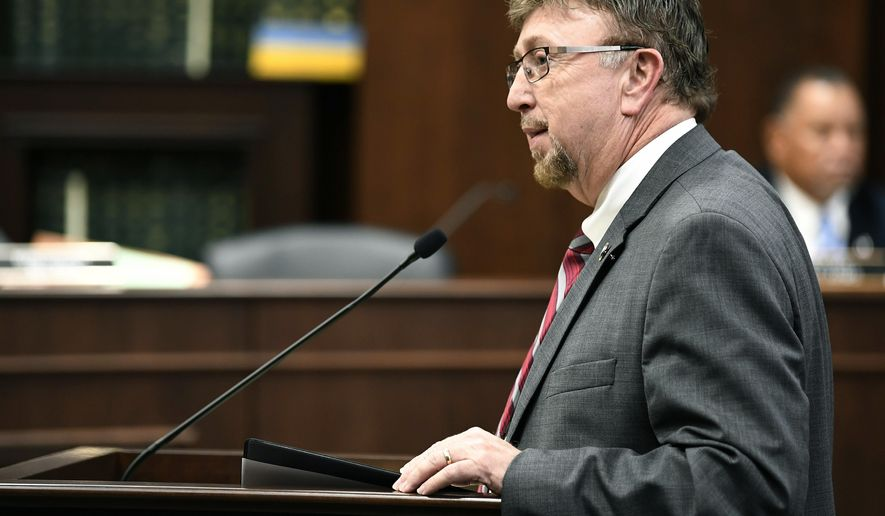 FILE - In this Feb. 28, 2018 file photo, Rep. David Byrd speaks about a bill he is sponsoring that will allow school employees to carry guns at the Cordell Hull Building in Nashville, Tenn. Byrd who is accused of sexual misconduct is denying he's been asked by Republican Gov. Bill Lee not to run for reelection next year. The Tennessee Republican lawmaker Byrd texted The Associated Press on Wednesday, July 10, 2019, that Lee had not called him seeking to persuade him from running for a fourth term in the GOP-dominated Statehouse. (George Walker IV/The Tennessean via AP, File)