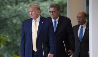 President Donald Trump arrives with Commerce Secretary Wilbur Ross and Attorney General William Barr to speak about the 2020 census in the Rose Garden at the White House in Washington, Thursday, July 11, 2019. (AP Photo/Alex Brandon)