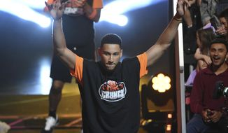 NBA player Ben Simmons, of the Philadelphia 76ers, comes out to participate in a challenge at the Kids' Choice Sports Awards on Thursday, July 11, 2019, at the Barker Hangar in Santa Monica, Calif. (Photo by Chris Pizzello/Invision/AP)